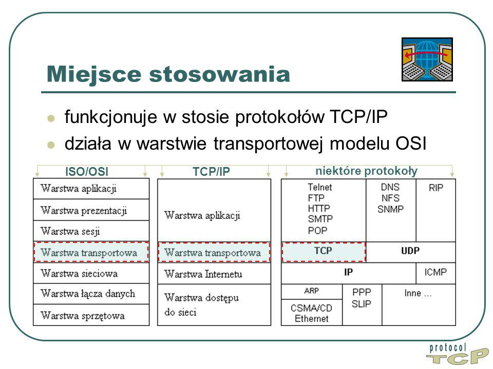 TCP Miejsce stosowania funkcjonuje w stosie protokołów TCP/IP