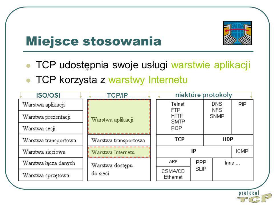 TCP Miejsce stosowania TCP udostępnia swoje usługi warstwie aplikacji