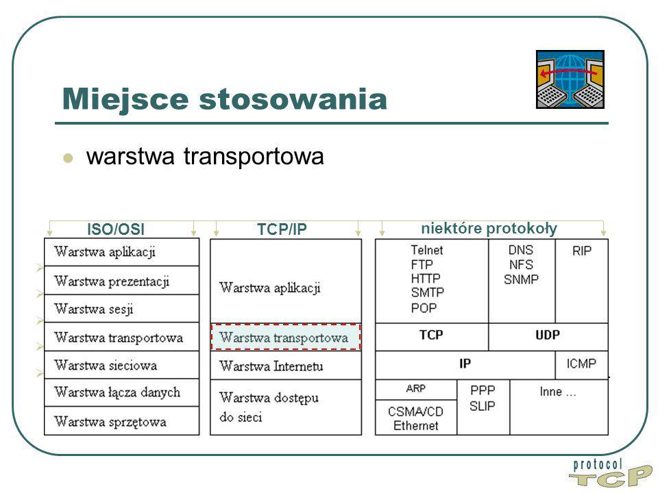 TCP Miejsce stosowania warstwa transportowa