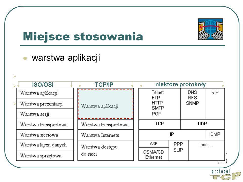 TCP Miejsce stosowania warstwa aplikacji