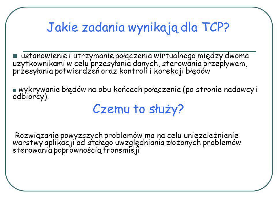 Jakie zadania wynikają dla TCP