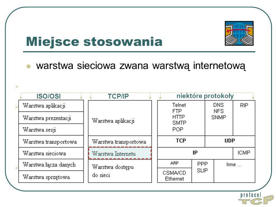 TCP Miejsce stosowania warstwa sieciowa zwana warstwą internetową