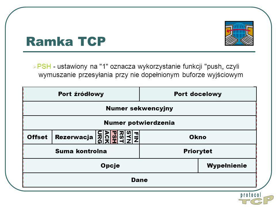 """Ramka TCP PSH - ustawiony na 1 oznacza wykorzystanie funkcji push"""" czyli wymuszanie przesyłania przy nie dopełnionym buforze wyjściowym."""