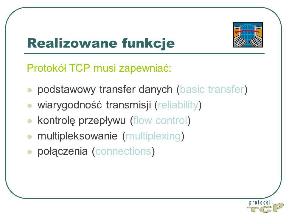 TCP Realizowane funkcje Protokół TCP musi zapewniać: