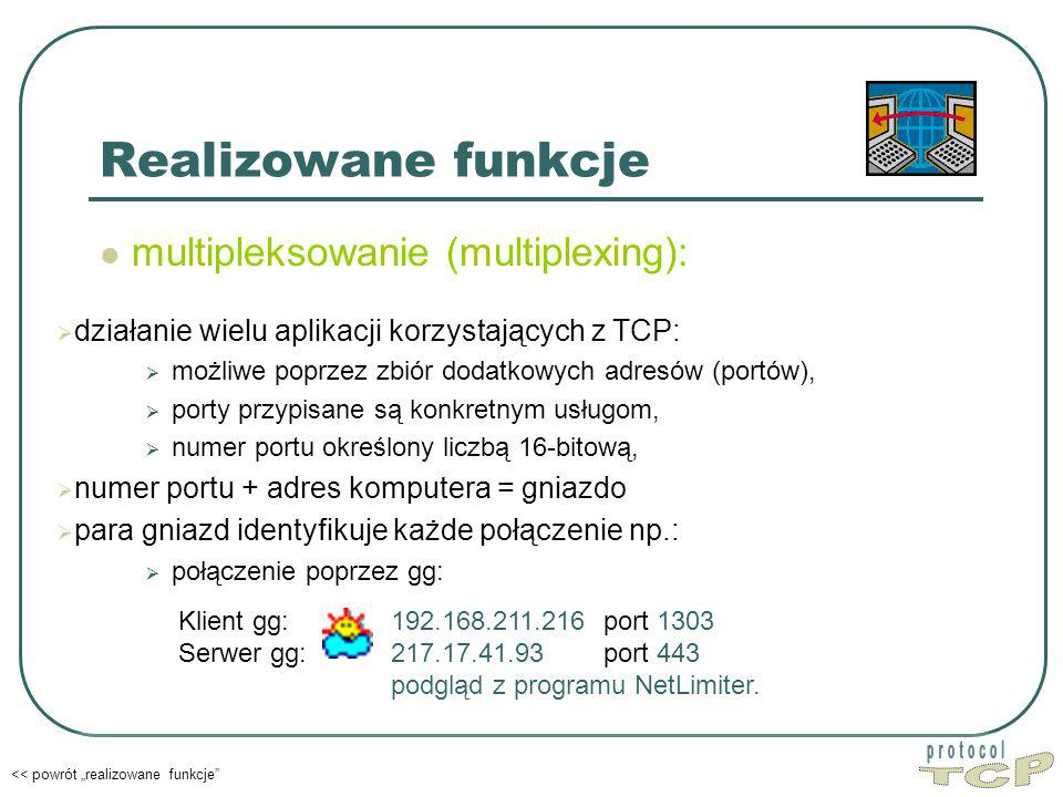 TCP Realizowane funkcje multipleksowanie (multiplexing):