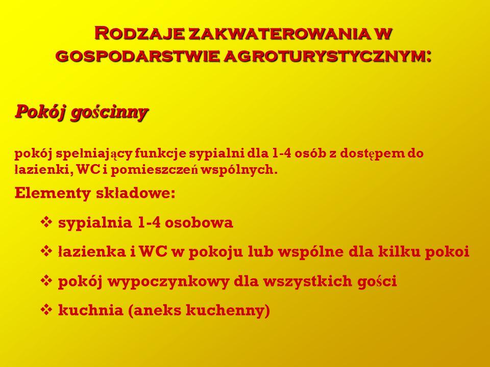 Rodzaje zakwaterowania w gospodarstwie agroturystycznym: