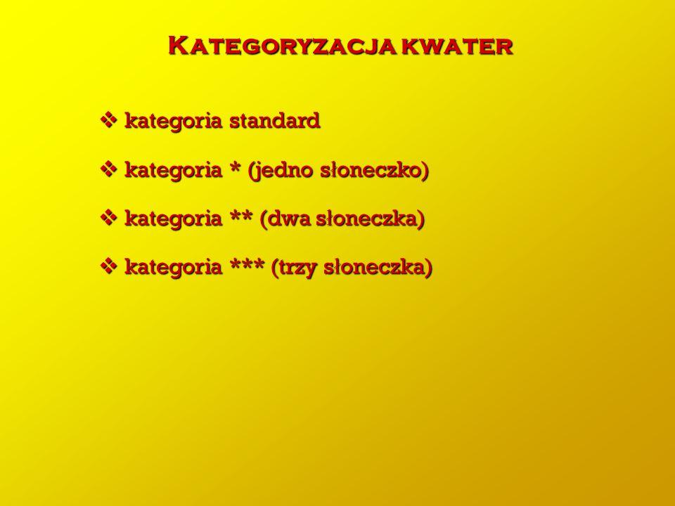 Kategoryzacja kwater kategoria standard kategoria * (jedno słoneczko)
