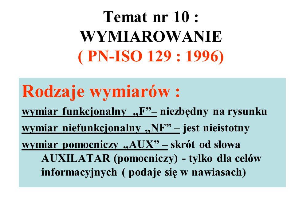 Temat nr 10 : WYMIAROWANIE ( PN-ISO 129 : 1996)