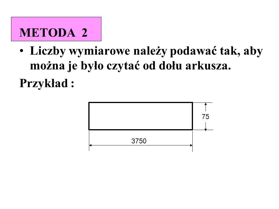 METODA 2 Liczby wymiarowe należy podawać tak, aby można je było czytać od dołu arkusza. Przykład :