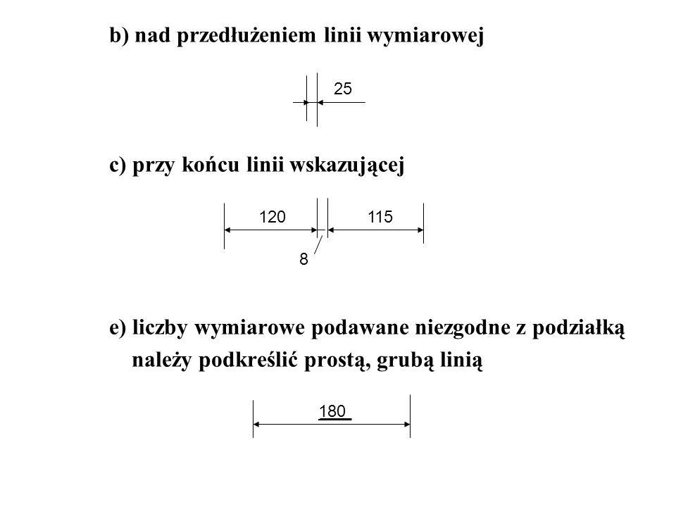 b) nad przedłużeniem linii wymiarowej