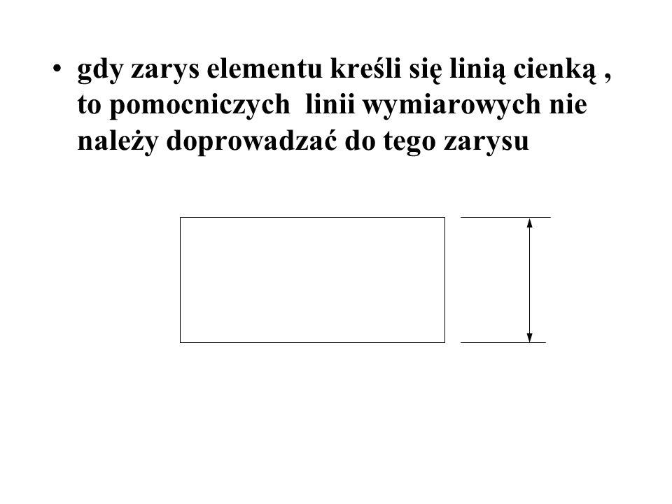 gdy zarys elementu kreśli się linią cienką , to pomocniczych linii wymiarowych nie należy doprowadzać do tego zarysu