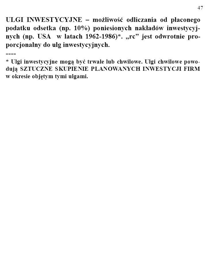 """ULGI INWESTYCYJNE – możliwość odliczania od płaconego podatku odsetka (np. 10%) poniesionych nakładów inwestycyj-nych (np. USA w latach 1962-1986)*. """"rc jest odwrotnie pro-porcjonalny do ulg inwestycyjnych."""