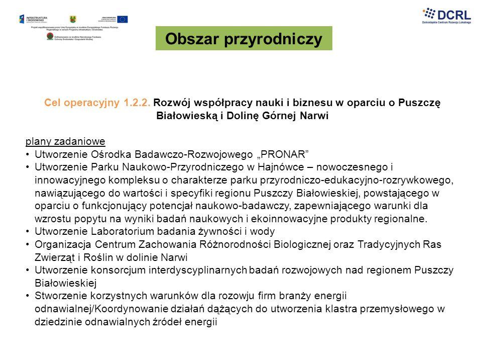 Obszar przyrodniczy Cel operacyjny 1.2.2. Rozwój współpracy nauki i biznesu w oparciu o Puszczę Białowieską i Dolinę Górnej Narwi.