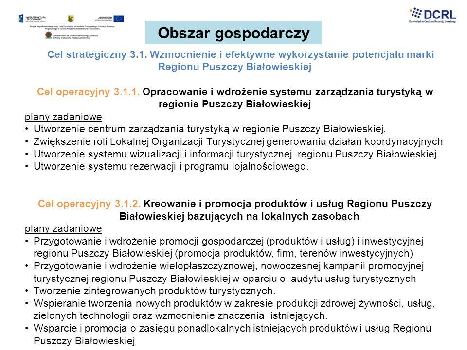 Obszar gospodarczy Cel strategiczny 3.1. Wzmocnienie i efektywne wykorzystanie potencjału marki Regionu Puszczy Białowieskiej.