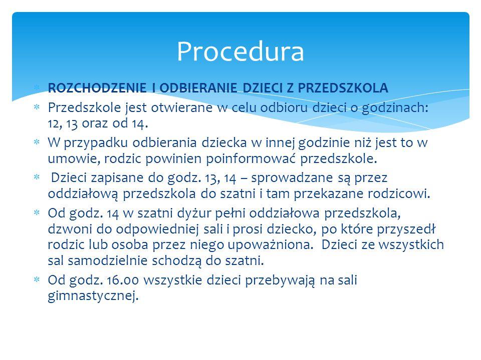 Procedura ROZCHODZENIE I ODBIERANIE DZIECI Z PRZEDSZKOLA