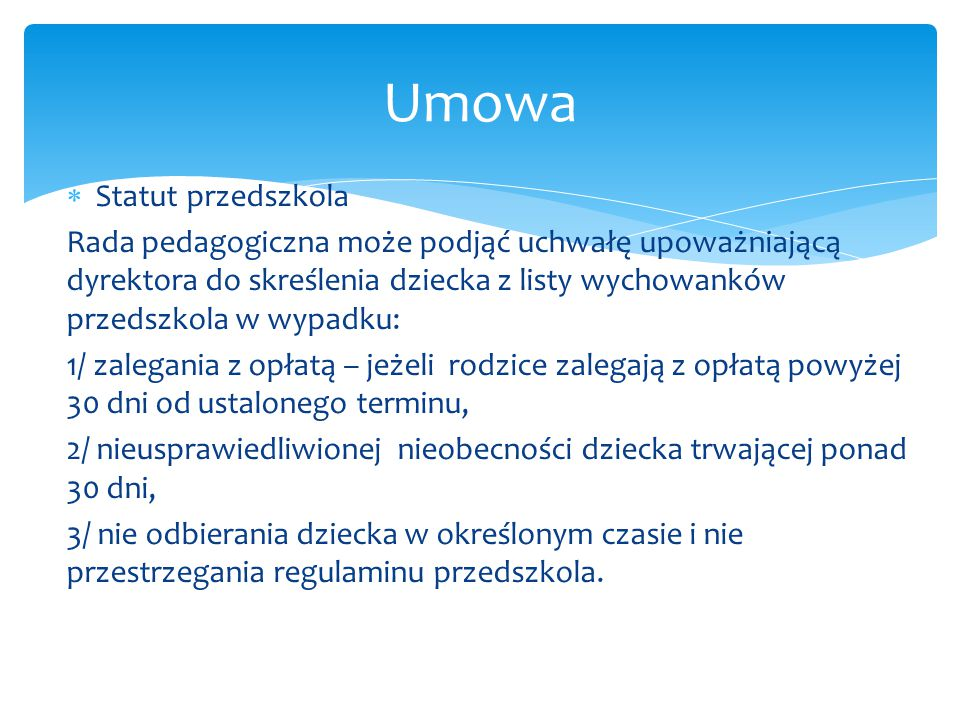 Umowa Statut przedszkola
