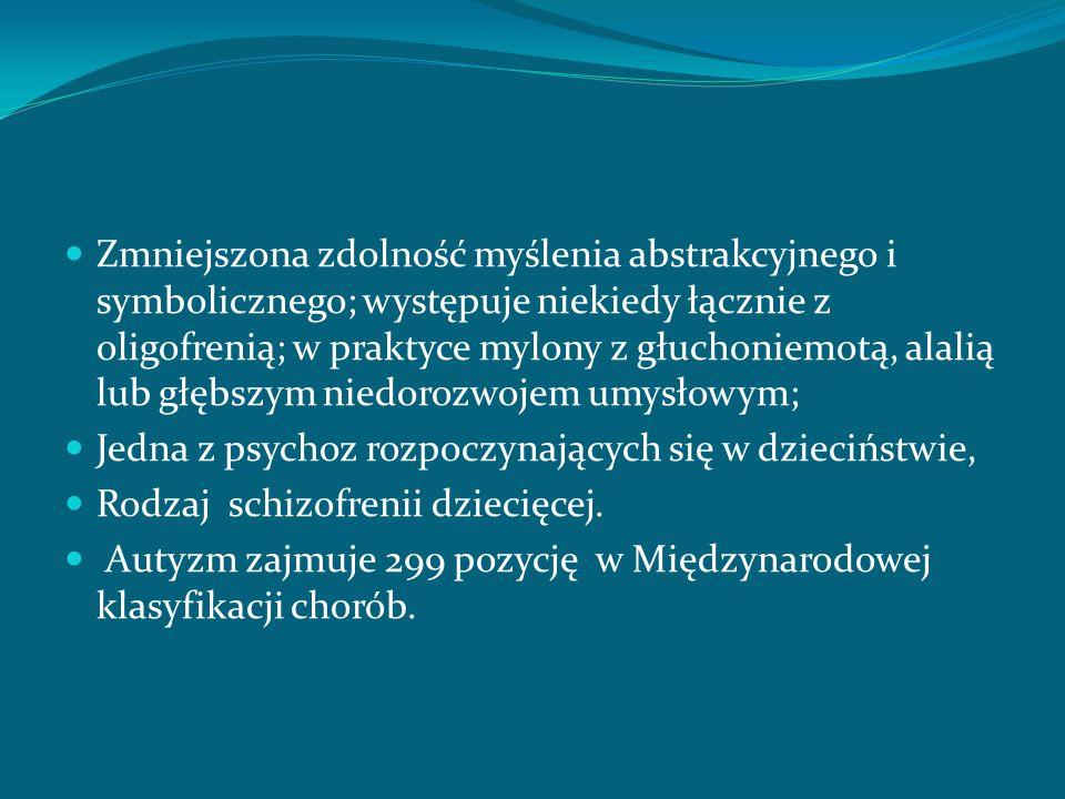 Zmniejszona zdolność myślenia abstrakcyjnego i symbolicznego; występuje niekiedy łącznie z oligofrenią; w praktyce mylony z głuchoniemotą, alalią lub głębszym niedorozwojem umysłowym;
