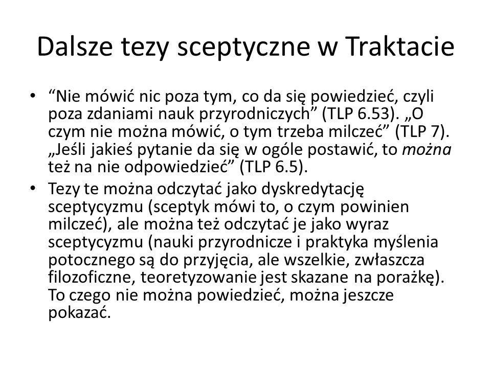 Dalsze tezy sceptyczne w Traktacie