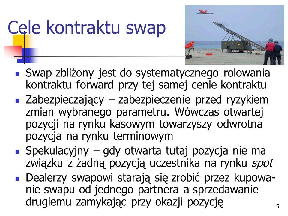 Cele kontraktu swap Swap zbliżony jest do systematycznego rolowania kontraktu forward przy tej samej cenie kontraktu.