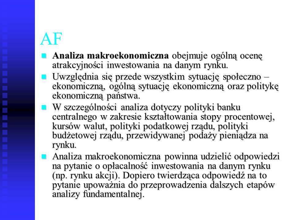 AF Analiza makroekonomiczna obejmuje ogólną ocenę atrakcyjności inwestowania na danym rynku.