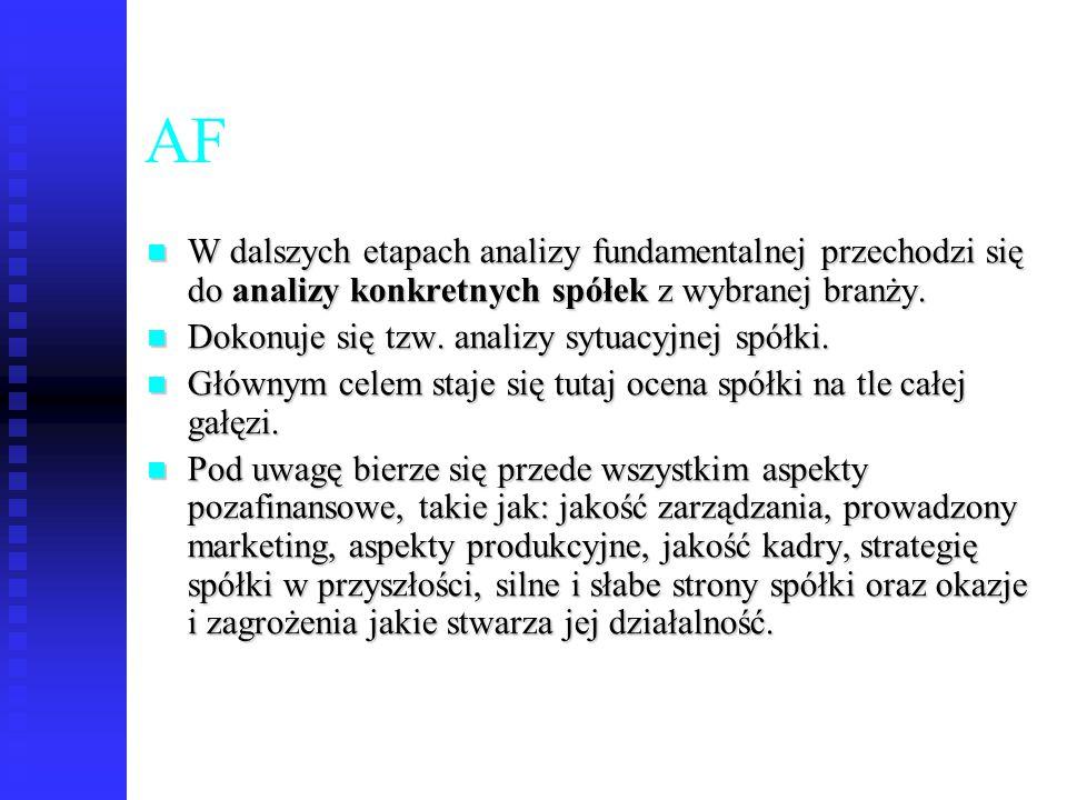 AF W dalszych etapach analizy fundamentalnej przechodzi się do analizy konkretnych spółek z wybranej branży.