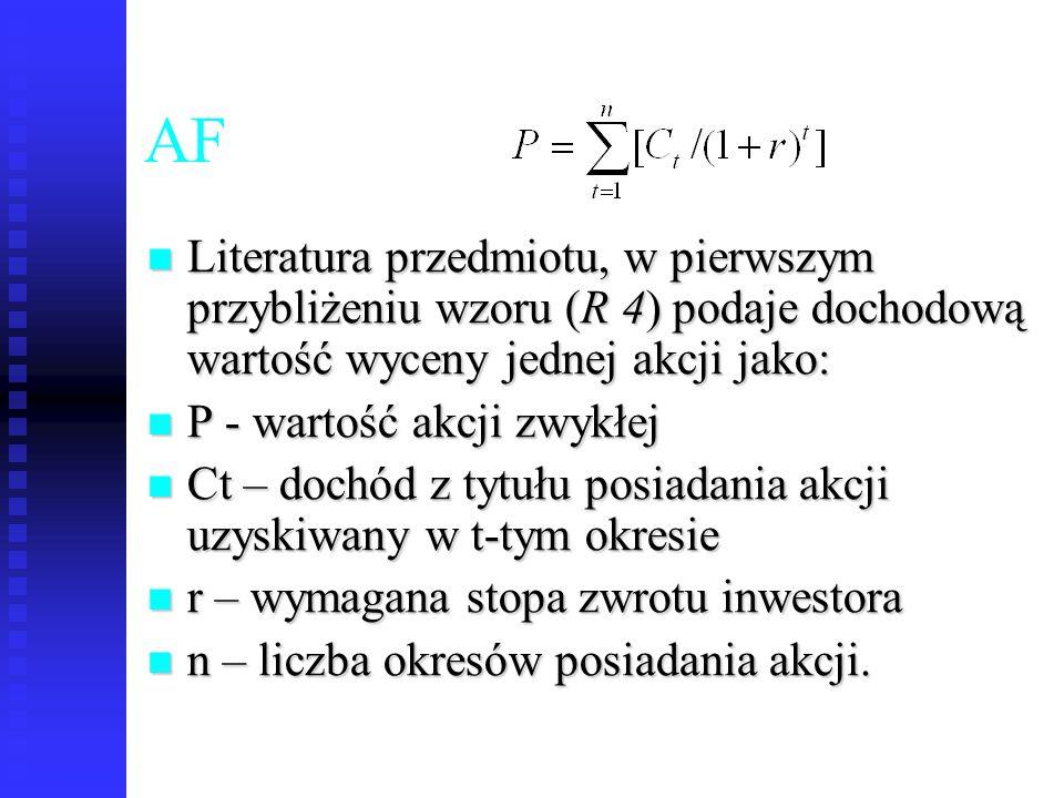 AF Literatura przedmiotu, w pierwszym przybliżeniu wzoru (R 4) podaje dochodową wartość wyceny jednej akcji jako: