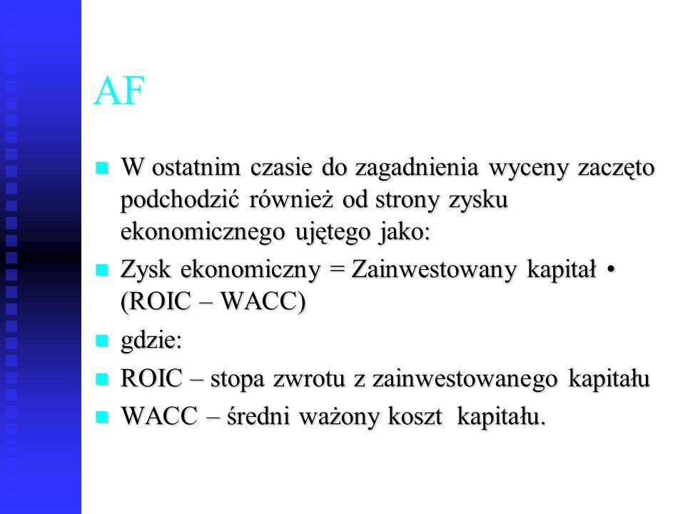 AF W ostatnim czasie do zagadnienia wyceny zaczęto podchodzić również od strony zysku ekonomicznego ujętego jako: