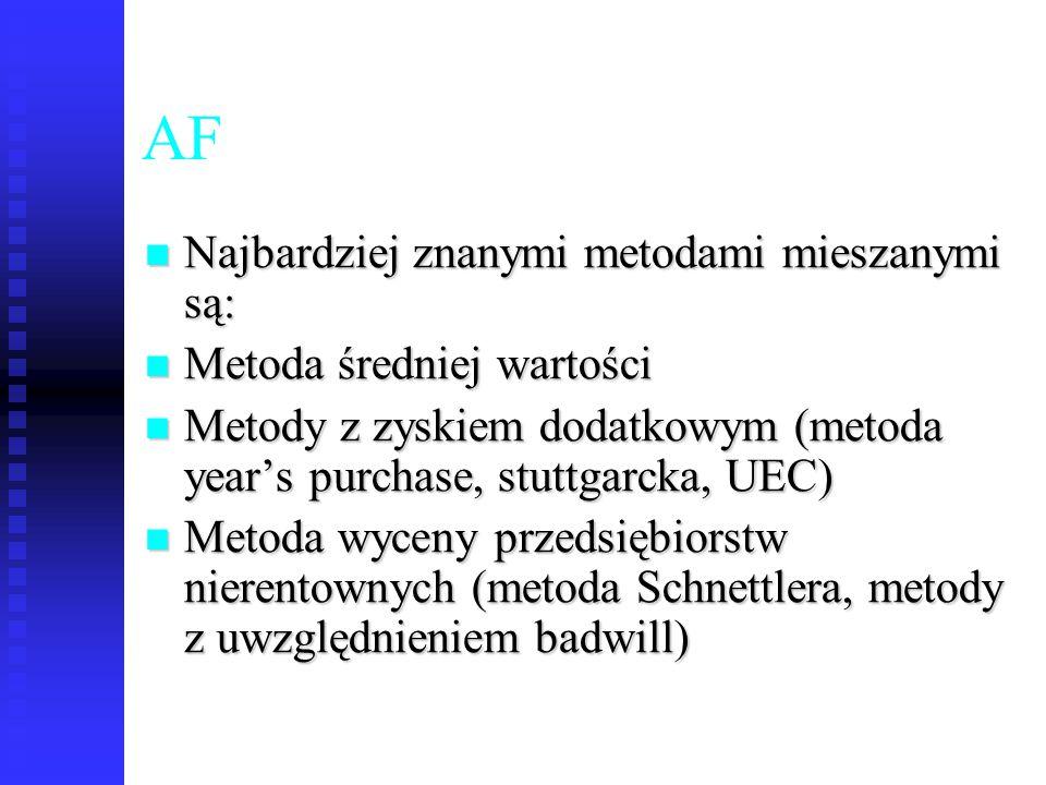 AF Najbardziej znanymi metodami mieszanymi są: