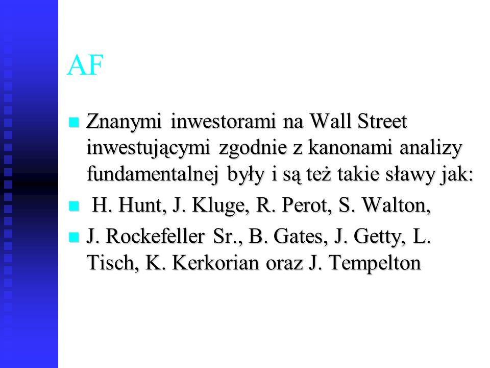 AF Znanymi inwestorami na Wall Street inwestującymi zgodnie z kanonami analizy fundamentalnej były i są też takie sławy jak: