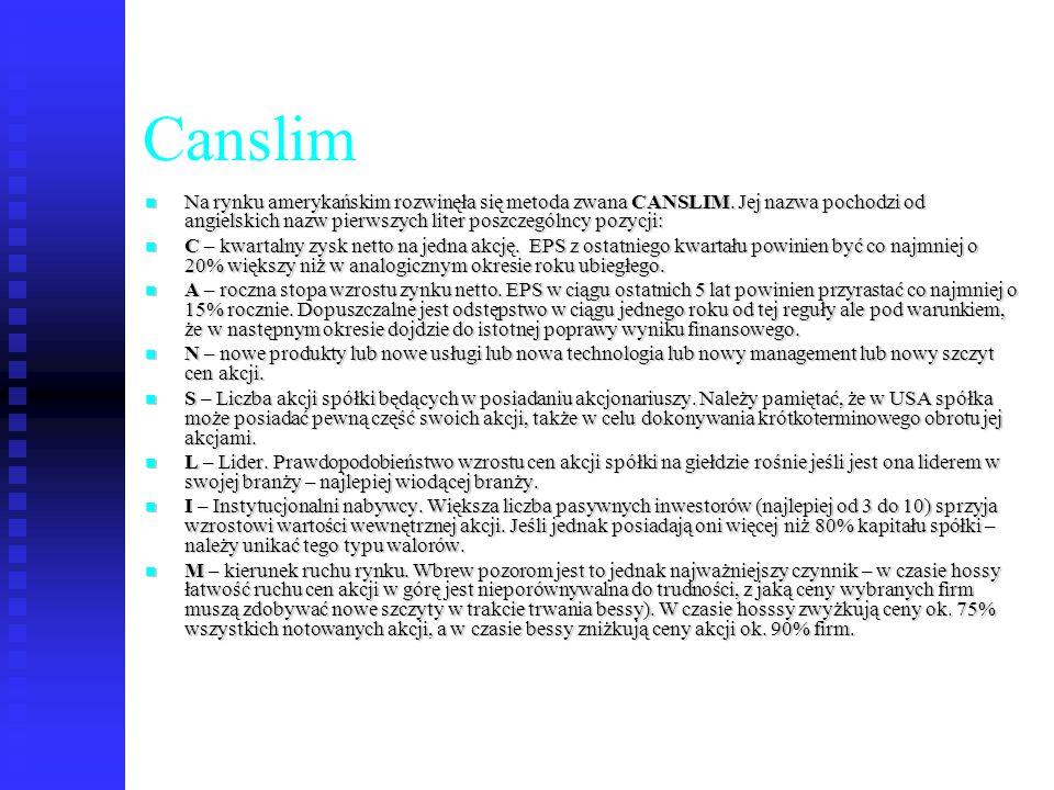 Canslim Na rynku amerykańskim rozwinęła się metoda zwana CANSLIM. Jej nazwa pochodzi od angielskich nazw pierwszych liter poszczególncy pozycji:
