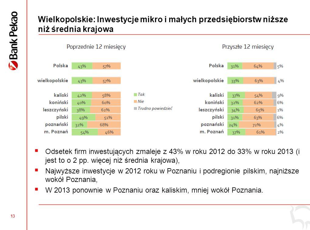 Wielkopolskie: Źródła finansowania inwestycji w roku 2013