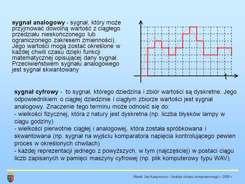 sygnał analogowy - sygnał, który może przyjmować dowolną wartość z ciągłego przedziału nieskończonego lub ograniczonego zakresem zmienności). Jego wartości mogą zostać określone w każdej chwili czasu dzięki funkcji matematycznej opisującej dany sygnał. Przeciwieństwem sygnału analogowego jest sygnał skwantowany