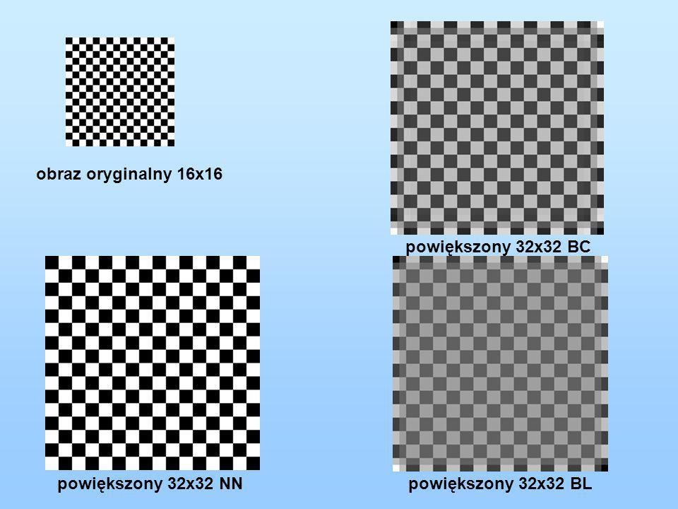 obraz oryginalny 16x16 powiększony 32x32 BC powiększony 32x32 NN powiększony 32x32 BL
