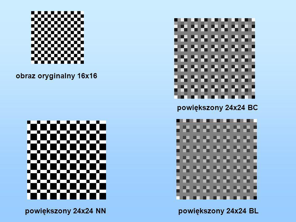 obraz oryginalny 16x16 powiększony 24x24 BC powiększony 24x24 NN powiększony 24x24 BL