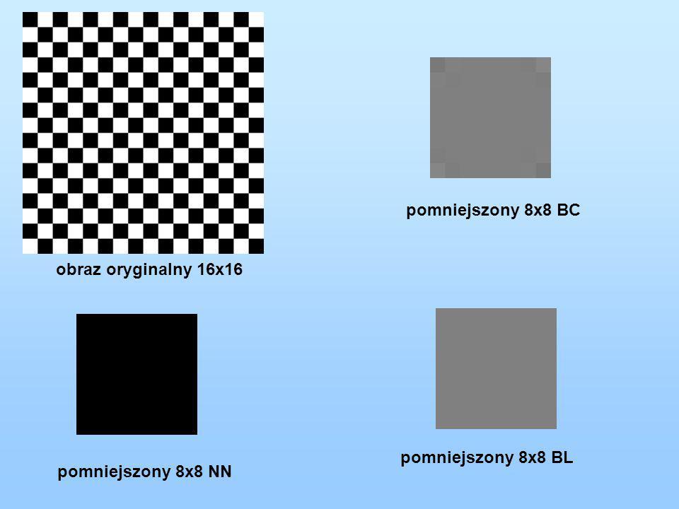 pomniejszony 8x8 BC obraz oryginalny 16x16 pomniejszony 8x8 BL pomniejszony 8x8 NN