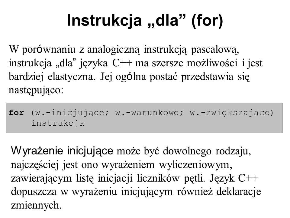 """Instrukcja """"dla (for)"""
