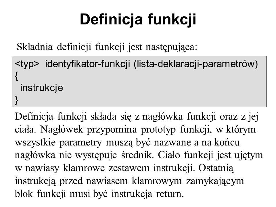 Definicja funkcji Składnia definicji funkcji jest następująca: