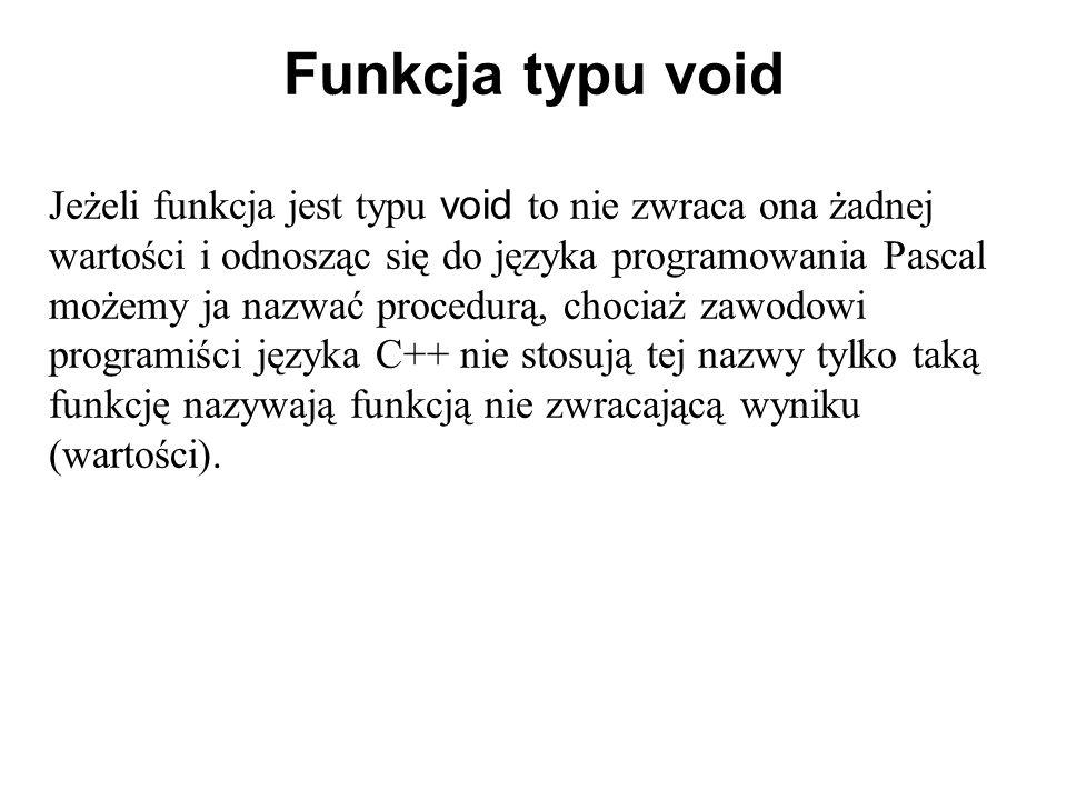 Funkcja typu void