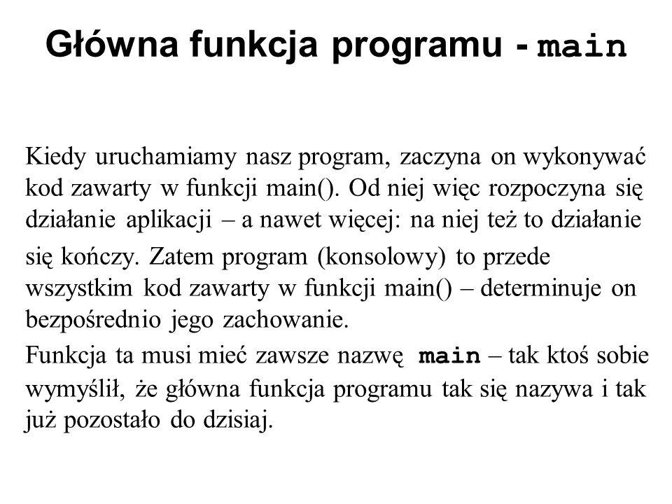 Główna funkcja programu - main