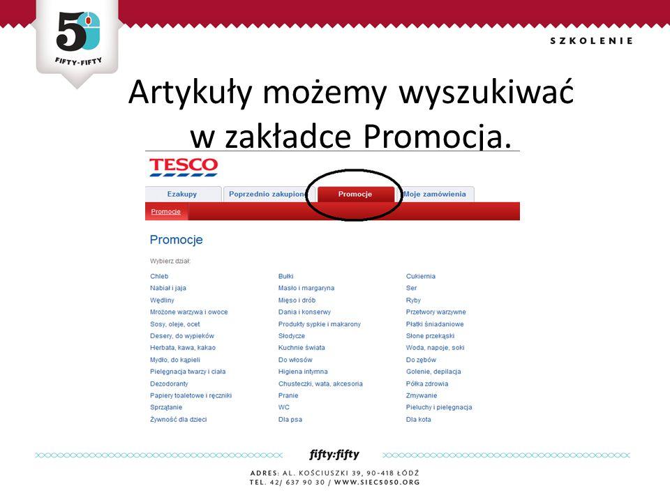 Artykuły możemy wyszukiwać w zakładce Promocja.