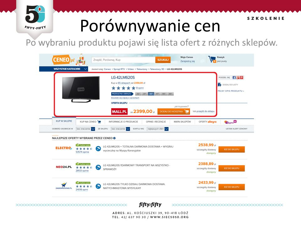 Po wybraniu produktu pojawi się lista ofert z różnych sklepów.