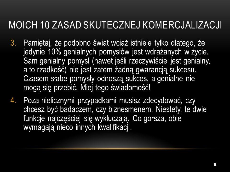 MOICH 10 zasad skutecznej komercjalizacji