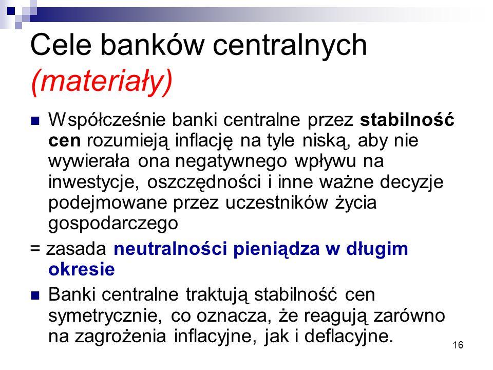 Cele banków centralnych (materiały)