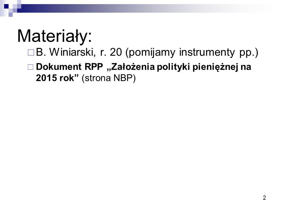 Materiały: B. Winiarski, r. 20 (pomijamy instrumenty pp.)