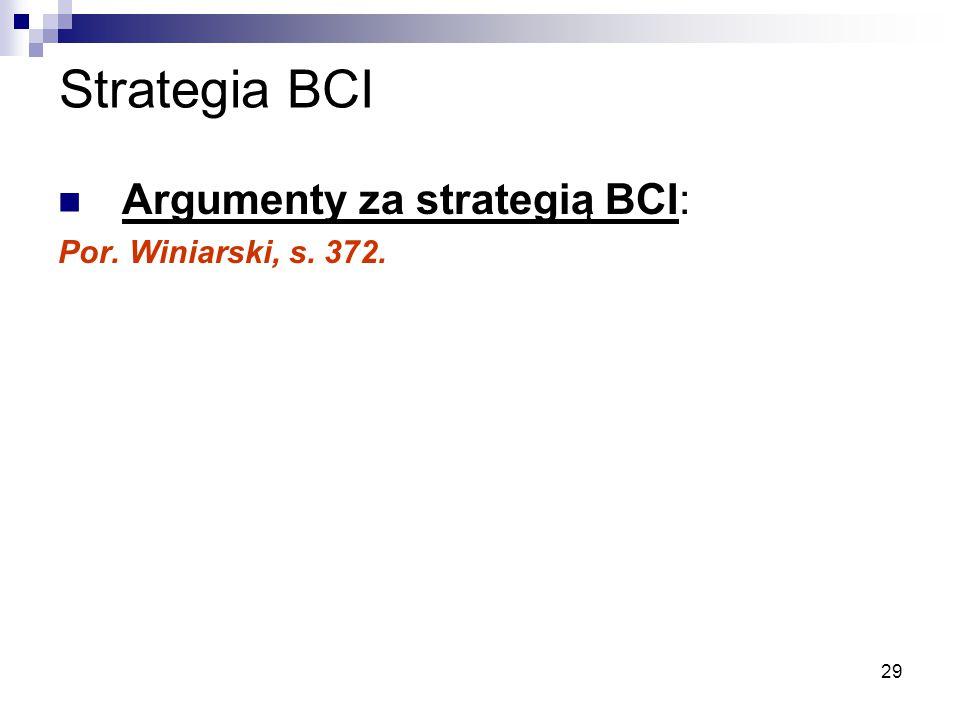 Strategia BCI Argumenty za strategią BCI: Por. Winiarski, s. 372.