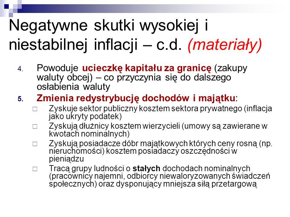 Negatywne skutki wysokiej i niestabilnej inflacji – c.d. (materiały)