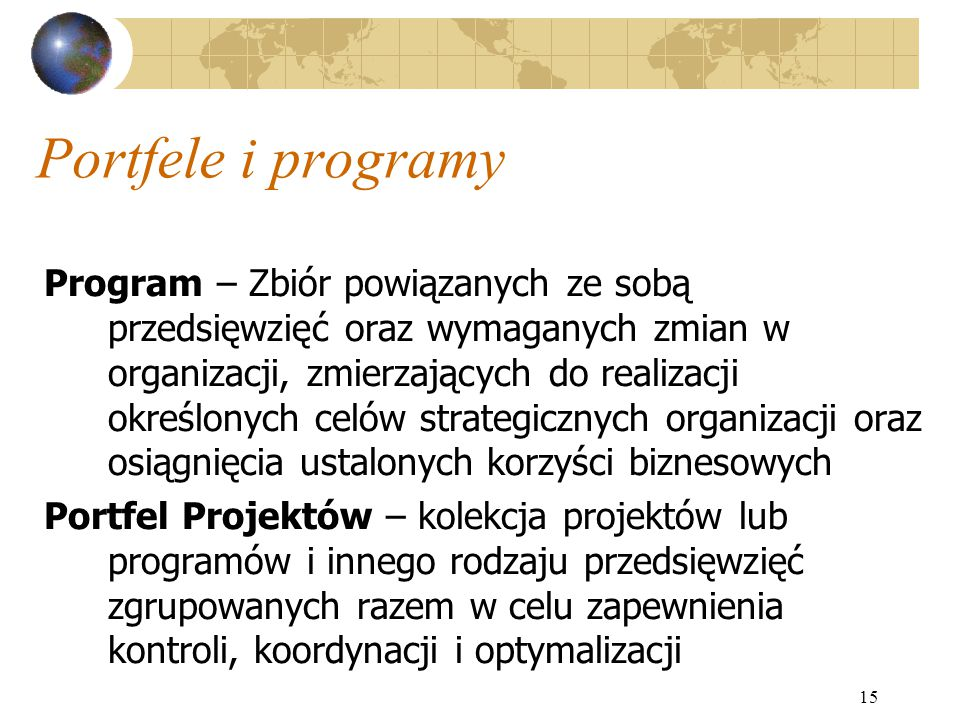 Portfele i programy