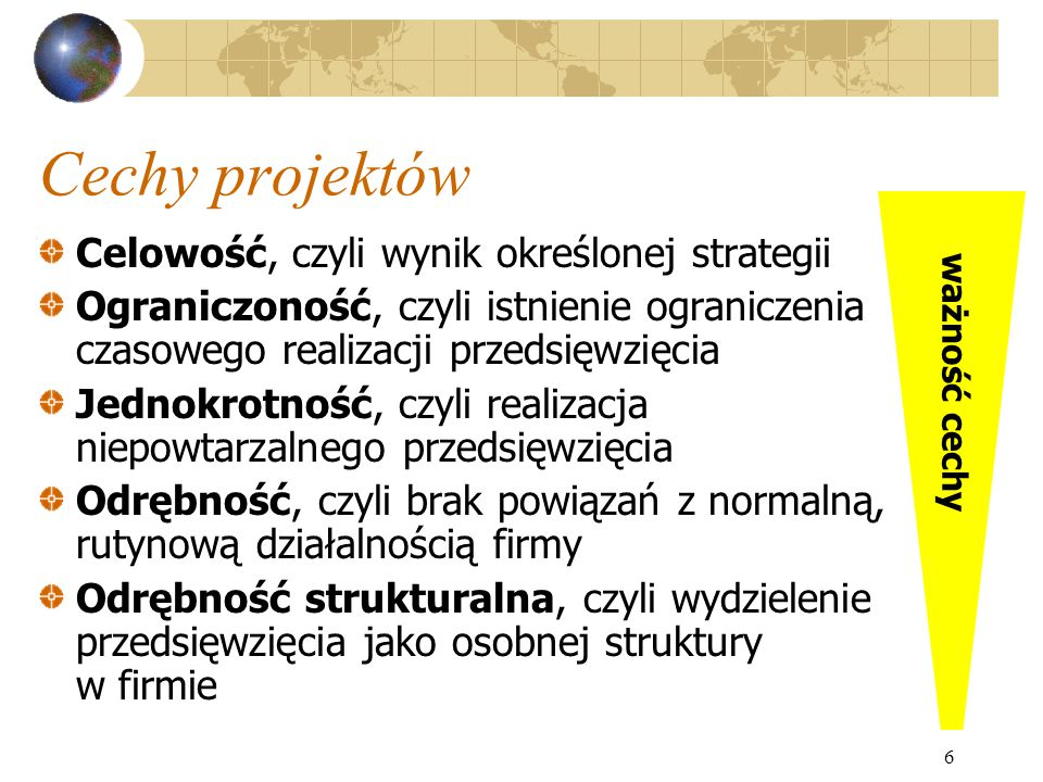 Cechy projektów Celowość, czyli wynik określonej strategii