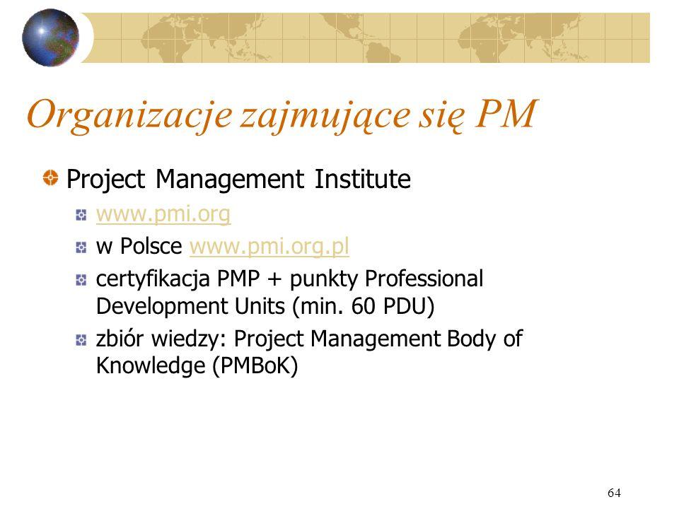 Organizacje zajmujące się PM