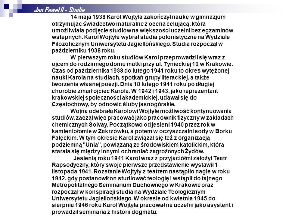 Jan Paweł II - Studia